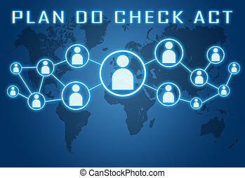 Plan Do Check Act concept on blue background with world map...