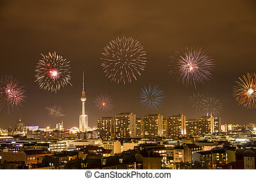 new year's eve in berlin - fireworks on new year's eve in...