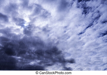 rainfall with dramatic cloudy sky
