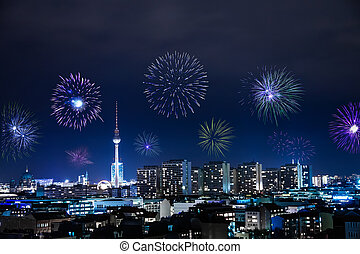 new years eve in berlin - new years eve with fireworks in...