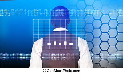 Businessman looking at a graph - Smiling businessman looking...