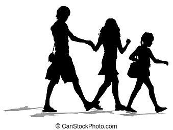 famílias, passeio,