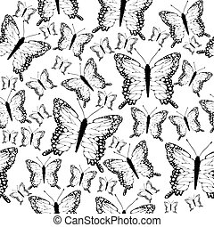 Seamless black and white butterflies background
