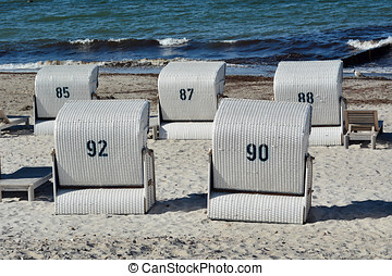 beach chairs on the beach of Heiligendamm on the Baltic...