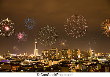 fireworks in berlin on new year's eve