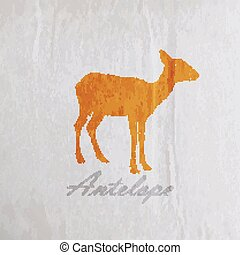 vector vintage illustration of an antelope on the old...