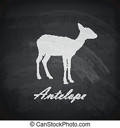 vector illustration of a chalk antelope on the blackboard...