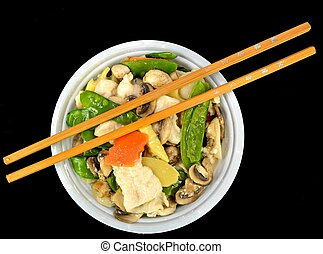 Moo Goo Gai Pan in a bowl with chop sticks