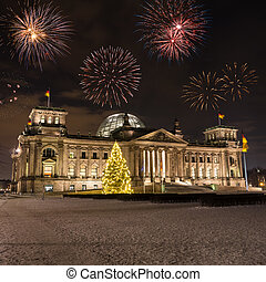fireworks over bundestag in germany on new year's eve