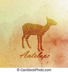 vector vintage illustration of a watercolor antelope on the...