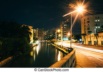 Collins Canal at night, in Miami Beach, Florida.
