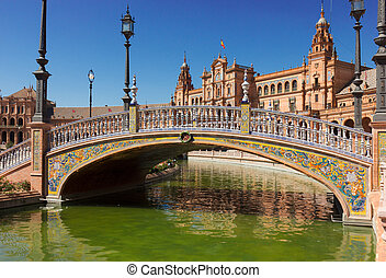 bridge of Plaza de Espana, Seville, Spain - bridge of Plaza...