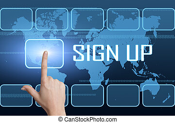 Sign up concept with interface and world map on blue...