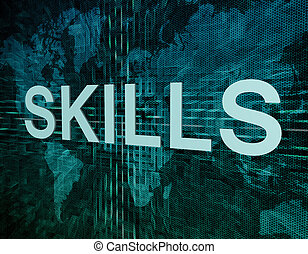 Skills text concept on green digital world map background