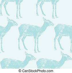 vector  illustration of an antelope. seamless animal pattern
