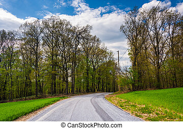 Country backroad in rural York County, Pennsylvania.