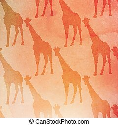 vector vintage illustration of giraffes pattern on the watercolor background