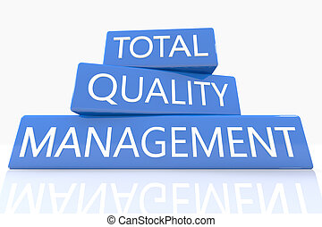 Total Quality Management - 3d render blue box with text...