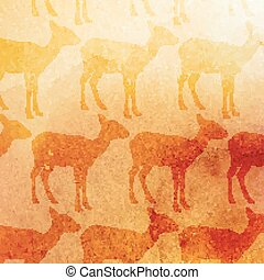 vector vintage illustration of antelopes pattern on the...