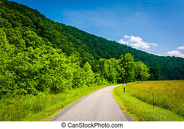 Farm field along a road in the rural Potomac Highlands of West V