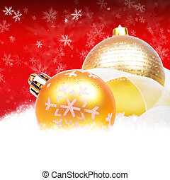 Red christmas background with balls and snowflakes