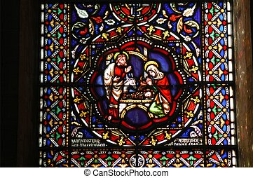 Nativity scene - Stained glass window Nativity scene