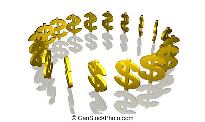 Dollar signs in circle - Dollar signs rotating