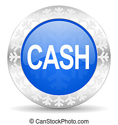 cash blue icon, christmas button