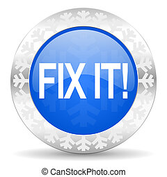 fix it blue icon, christmas button
