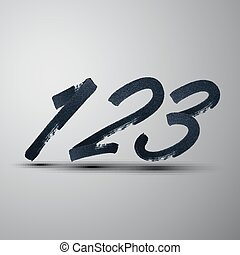 vector set of calligraphic marker or ink numbers