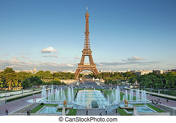Panorama - The Eiffel Tower seen from Trocadero, Paris,...