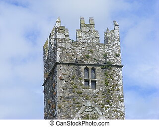Friary tower - Ross Errilly Friary tower in Galway Ireland,...