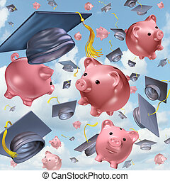 Education savings concept as a group of mortarboards or...