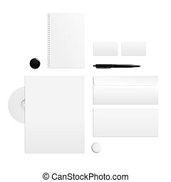 Branding identity on a white background Top view