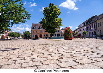 market place in werder (havel) in summer