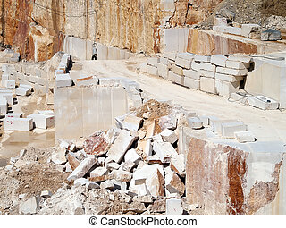 Stone blocks - stone blocks and steps after extracting in...