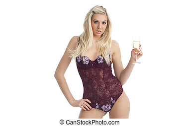 woman in underwear with champagne