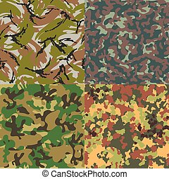 Set of vector seamless camouflage patterns Four kinds - Set...