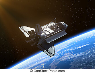 Space Shuttle Orbiting Earth. Realistic 3D scene.