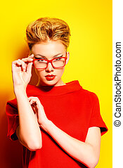 spectacles - Close-up portrait of a stunning female model in...
