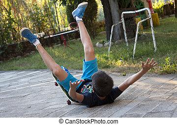 skateboard, acidente,
