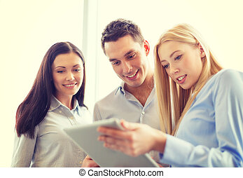 business team working with tablet pc in office - business...