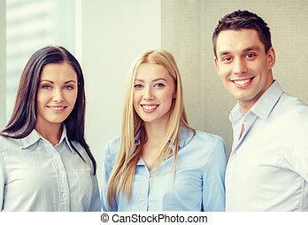 feliz, empresa / negocio, equipo, en, oficina,