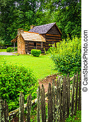 House at the Mountain Farm Museum in the Oconaluftee Valley,...
