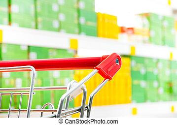 supermercado, tranvía, en, Tienda,