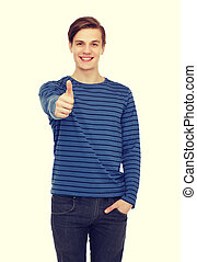 smiling teenage boy showing thumbs up - people and happiness...