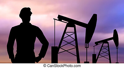black silhouette of oil worker and pump jack - industry,...