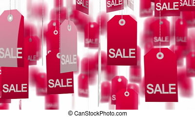 Sale tags - Red sale tags on white background, loop ready....