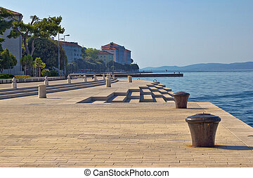 Zadar waterfront famous sea organs landmark in Dalmatia,...