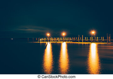Pier on the Chesapeake Bay at night, in Havre de Grace, Maryland